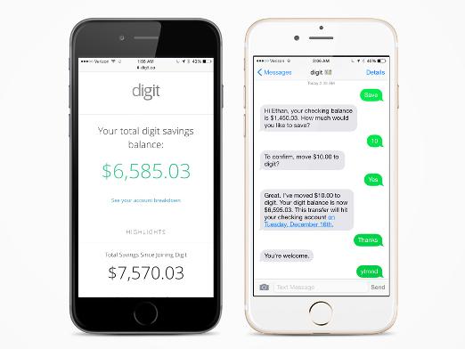 Schwarzes, weißes Smartphone mit Digit App