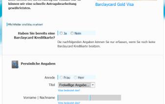 Online-Antrag Barclaycard Gold Visa