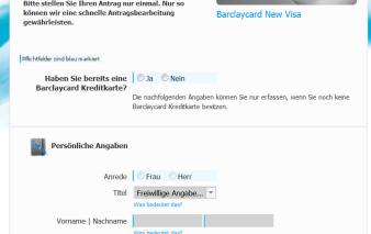 Screenshot Antrag Barclaycard New Visa