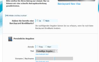 Screenshot Antrag Barclaycard New Visa