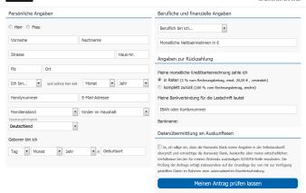 Online-Formular Antrag Deutschland-Kreditkarte