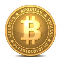 Bitcoin-Zeichnung auf weißem Hintergrund