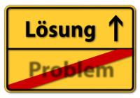 Straßenschild mit Beschriftung Lösung und Problem