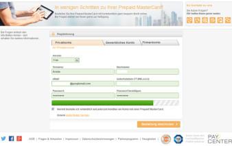 Antragsstrecke Global MasterCard Premium