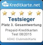 Gesamtwertung 3. Platz Prepaid-Kreditkarten Test 2015 ADAC Clubmobilkarte
