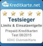 Sieger Kategorie Limits und Entgelte Prepaid-Kreditkarten Test 2015 ADAC ClubmobilKarte