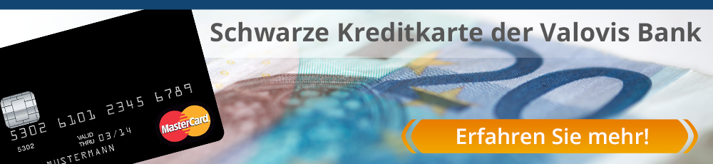 Schwarze Valovis Kreditkarte 20 Euro Startguthaben