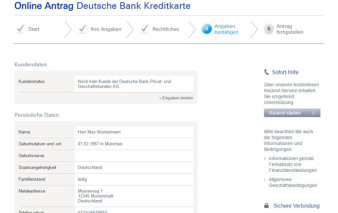 Antragsstrecke Deutsche Bank MasterCard Travel