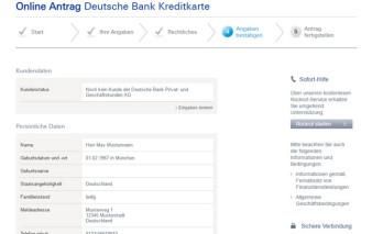 Antragsstrecke Deutsche Bank MasterCard Travel
