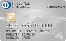 Graue Kreditkarte mit Sicherheitschip, angeboten von Diners Club