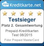 Gesamtwertung 2. Platz Prepaid-Kreditkarten Test 2015 Fidor Prepaid MasterCard