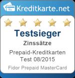 Sieger Kategorie Guthabenzins Prepaid-Kreditkarten Test 2015 Fidor Prepaid MasterCard
