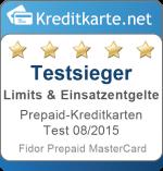 Sieger Kategorie Limits und Entgelte Prepaid-Kreditkarten Test 2015 GlobalFidor Prepaid MasterCard
