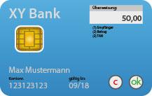 Blaue Dummy-Bankkarte mit integrierten Display für Display-TAN-Verfahren