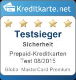 Sieger Kategorie Sicherheit Prepaid-Kreditkarten Test 2015 Global MasterCard Premium