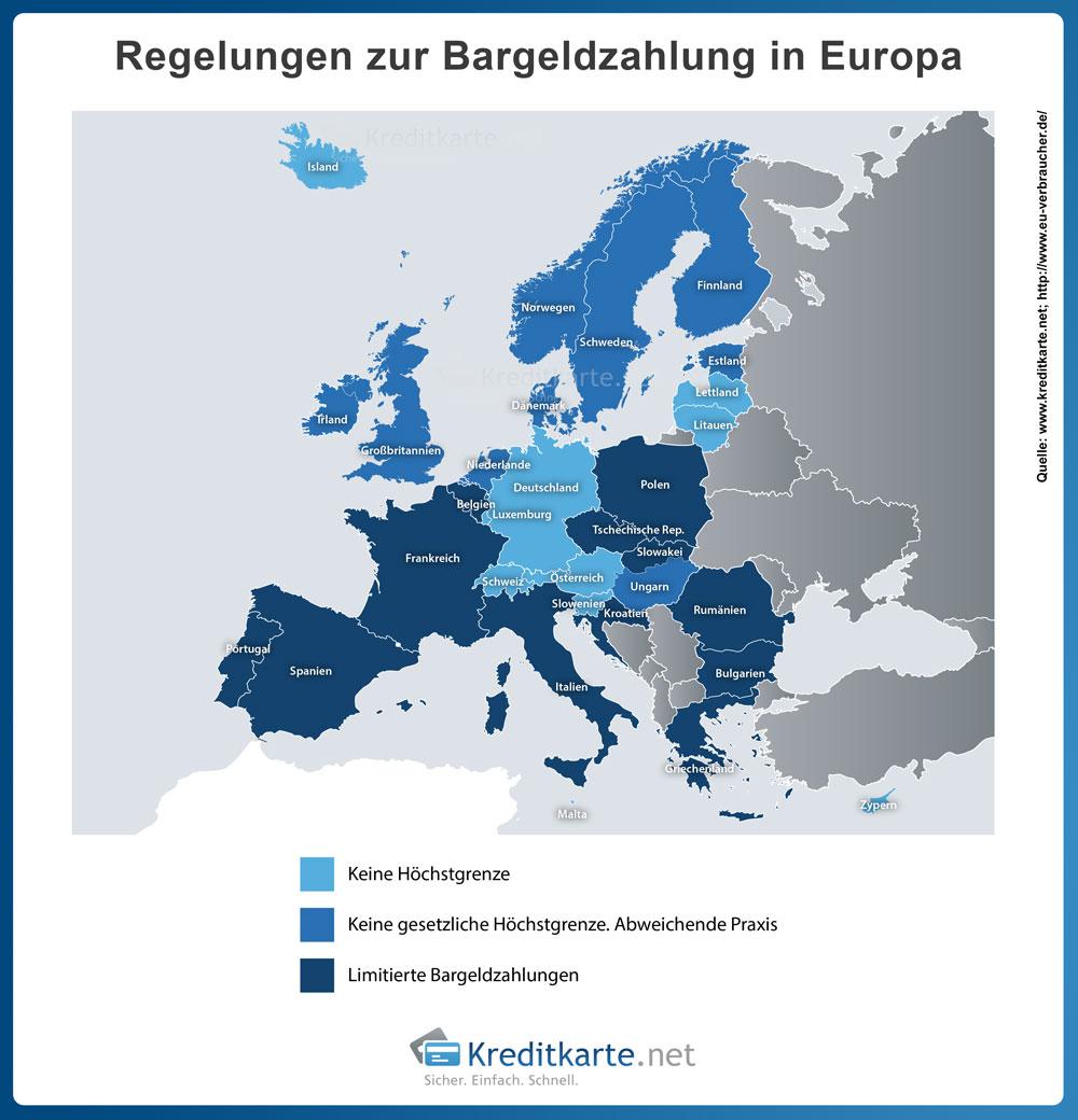Bargeld in Europa: Limits für Bargeldzahlungen in den europäischen Staaten 2016