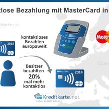 Kontaktlose Zahlungen mit MasterCard in Deutschland um 140 Prozent gestiegen