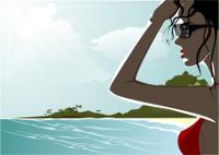 Komikzeichnung: Frau mit Brille blickt Richtung Meer
