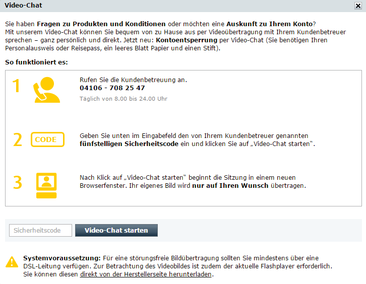 Screenshot Kontoentsperrung comdirect
