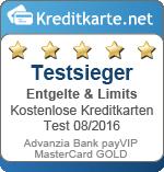 Siegel Testsieger Entgelte Advanzia payVIP MasterCard