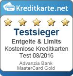 Siegel Testsieger Entgelte Advanzia Bank MasterCard Gold