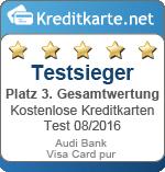 Siegel 3. Platz Gesamt Audi Bank Visa Card