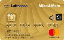Goldende Kreditkarte mit Vielfliegerprogramm von Lufthansa