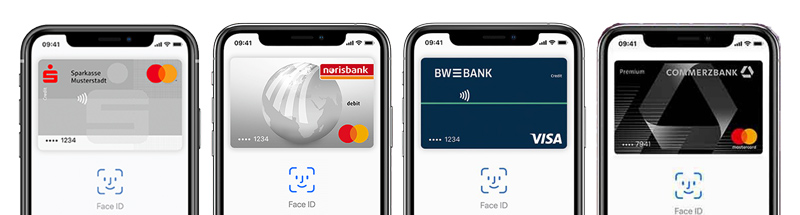 Apple Pay mit Sparkasse, Norisbank, BW-Bank und Commerzbank