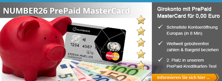 NUMBER26 Girokonto mit kostenloser PrePaid MasterCard