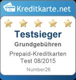 Sieger Kategorie Grundgebuehren Prepaid-Kreditkarten Test 2015 Number26 MasterCard