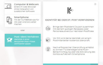 Screenshot Verifizierung via PostIdent