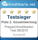 Gesamtwertung 2. Platz Prepaid-Kreditkarten Test 2015 Number26 MasterCard
