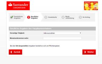 Antragsstrecke Santander SunnyCard
