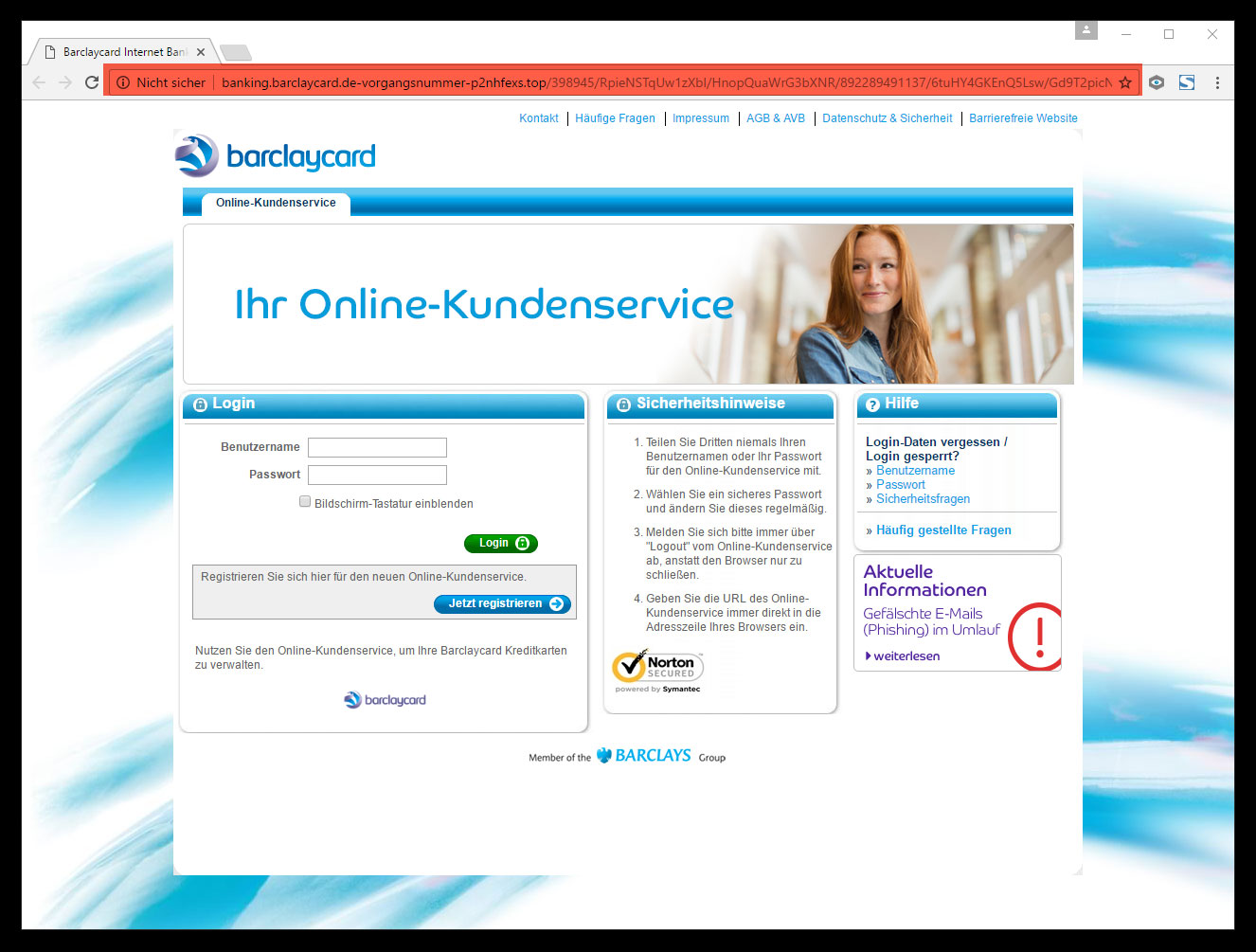 screenshoot fake barclaycard landing page