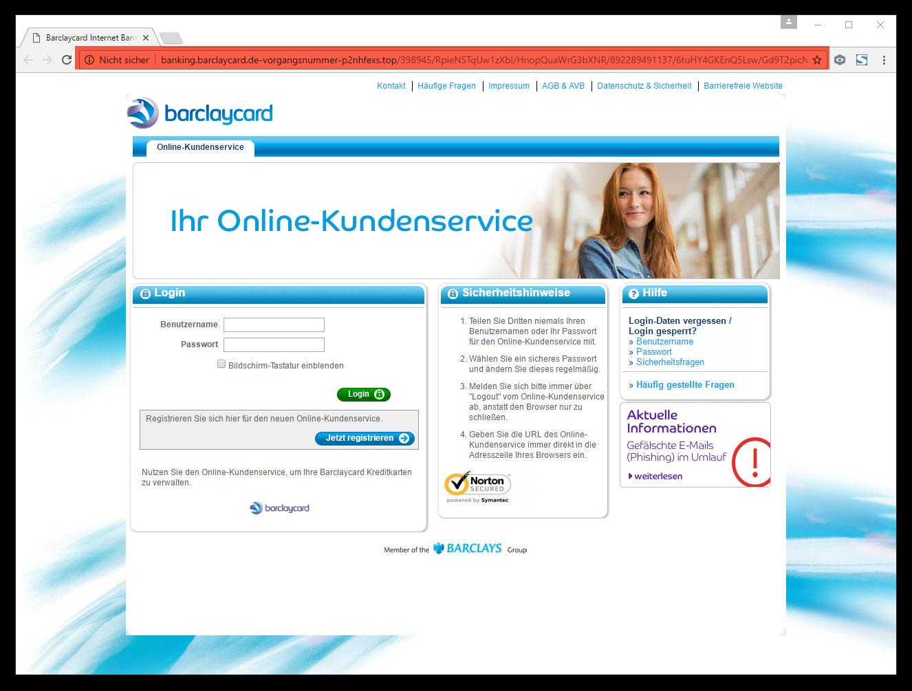 screenshoot fake barclaycard landing page