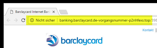 screenshoot fake barclaycard phishing url
