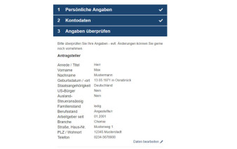 Screenshot Antragsprozess 1822direkt Gold