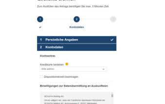 Screenshot Kreditkartenantrag 1822direkt Girokonto für Studenten
