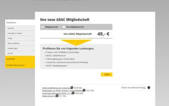 Screenshot Kartenantrag ADAC ClubmobilKarte