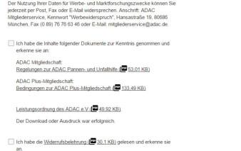 Screenshot Kartenantrag ADAC mobilKarte