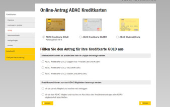Screenshot Kartenantrag ADAC mobilKarte Gold