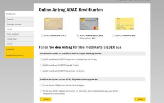 Screenshot Kartenantrag ADAC mobilKarte Silber