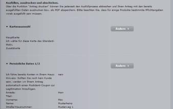 Antragsstrecke Audi Bank Visa Card