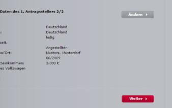 Antragsstrecke Audi Bank Visa Card pur