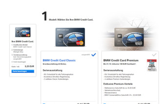 Screenshot Konfigurator BMW Credit Card