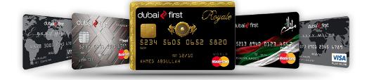Reihe von Kreditkarten der First Bank Dubai