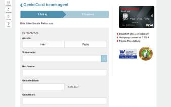 Antragsstrecke Hanseatic Bank GenialCard