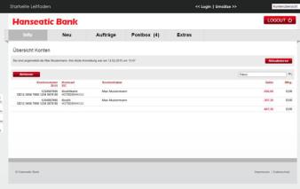 Kontenübersicht Online-Banking Hanseatic Bank GenialCard
