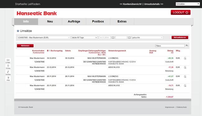 Hanseatic Bank Internetbanking