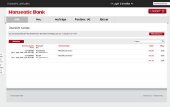 Screenshot Online-Banking Hanseatic Gold Card